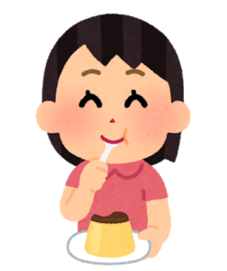 プリンを食べる人